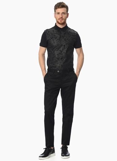 Network Desenli Polo Yaka Tişört Siyah